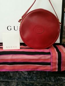 afea067aa Image is loading RARE-Authentic-Vintage-Gucci-Red-Leather-Canteen-Round-