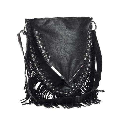 Fashion Womens Fringe Tassel Faux Leather Cross Body Ladies Messenger Shoulder B