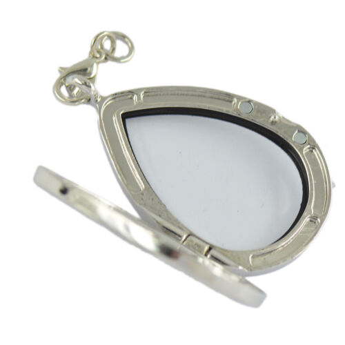 2x Living Memory Floating Charms Glass Teardrop Locket Pendant DIY Necklace