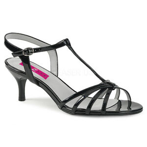1a5e3af7a8 Pleaser KITTEN-06 Womens Ladies Black Patent T-Strap Sandal Kitten ...