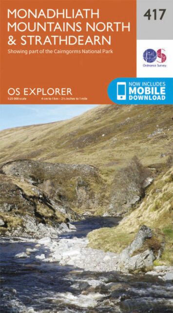 Monadhliath Mountains North and Strathdear Explorer Map 417 Ordnance Survey 2015