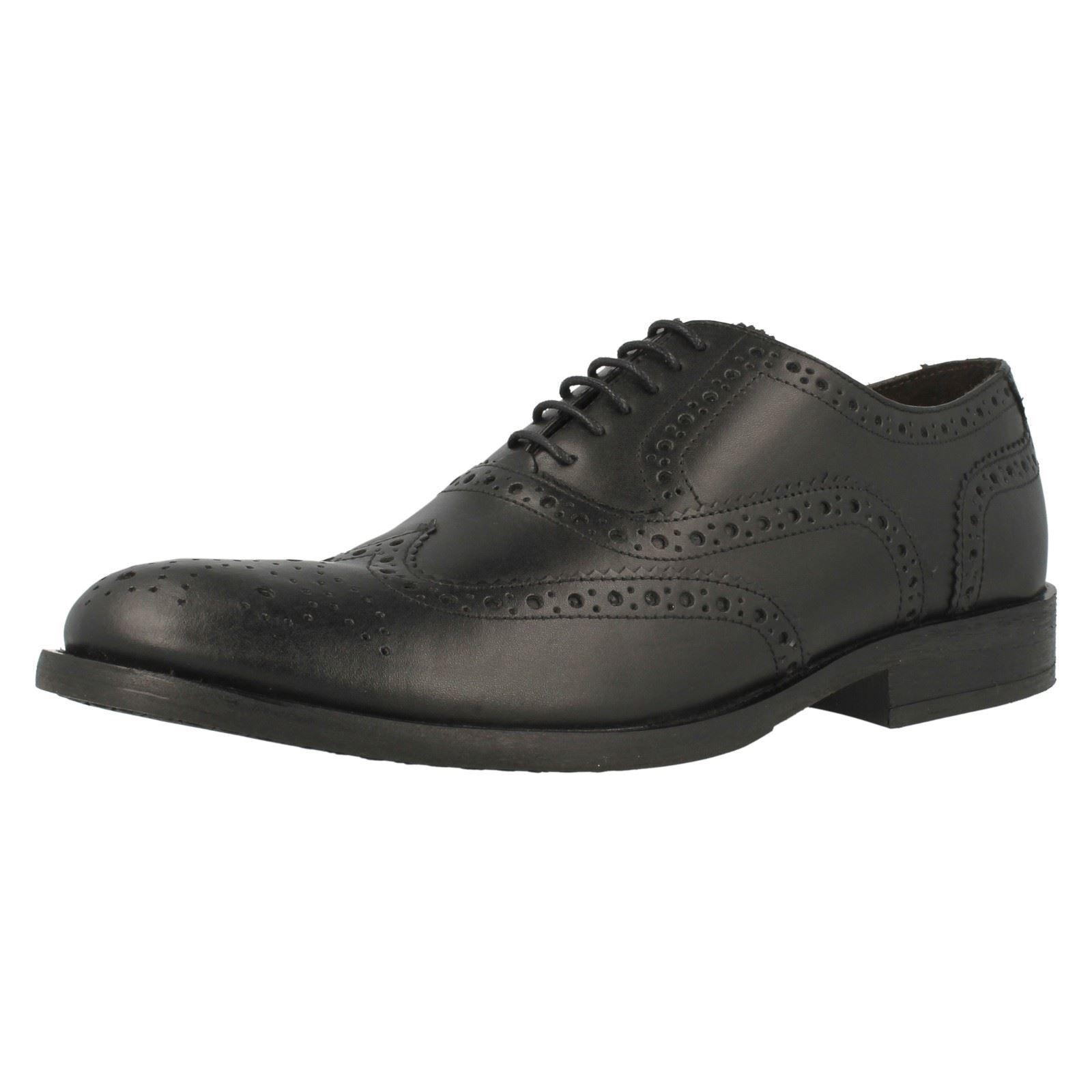 Base London NOCE MTO uomo Nero Lucido Pelle Scarpe eleganti Brogue con lacci ( Scarpe classiche da uomo