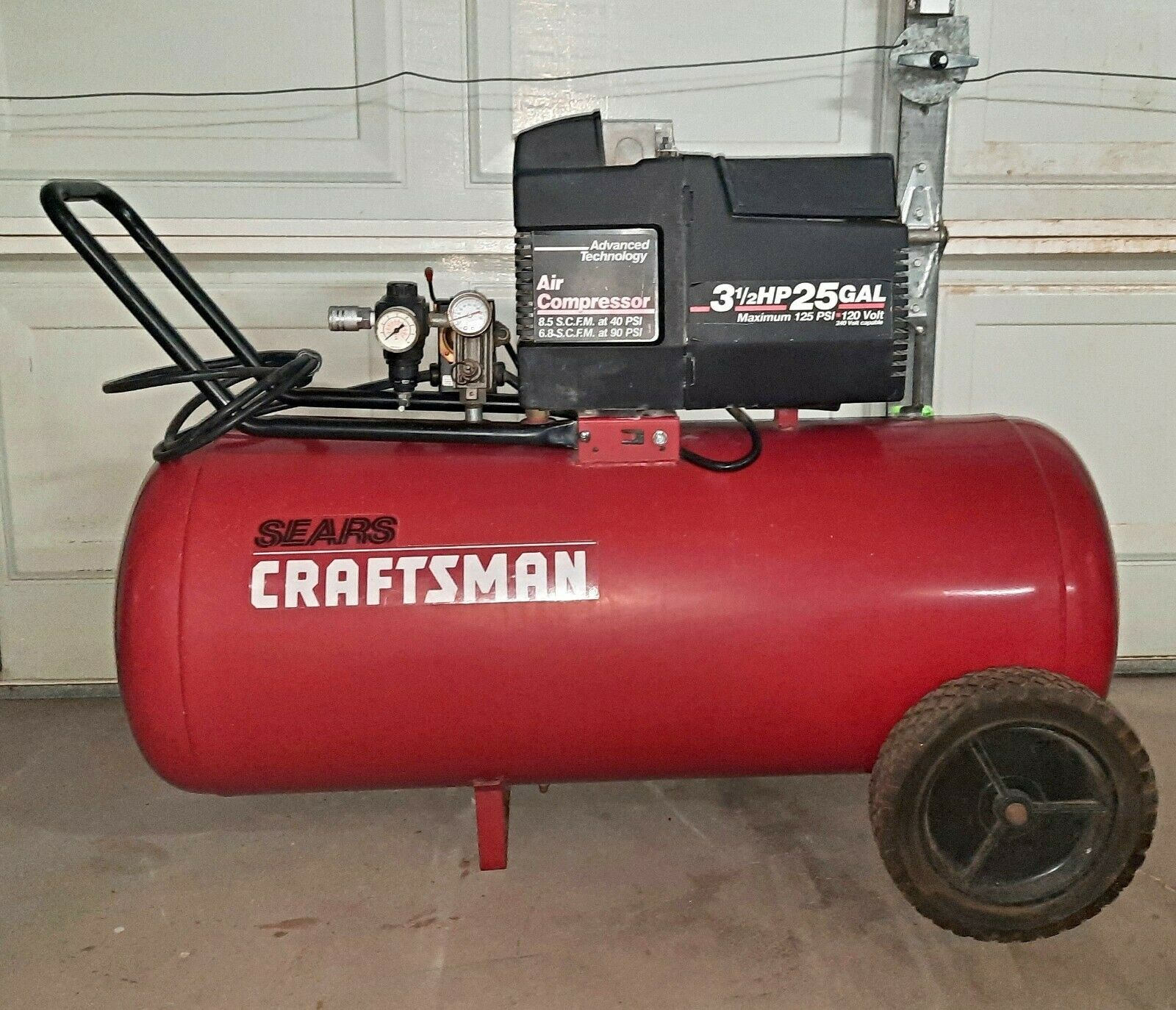 EXC Craftsman 3.5 HP 25 Gallon Air Compressor 120/240V 6.8scfm@90psi New Parts. Available Now for 148.75