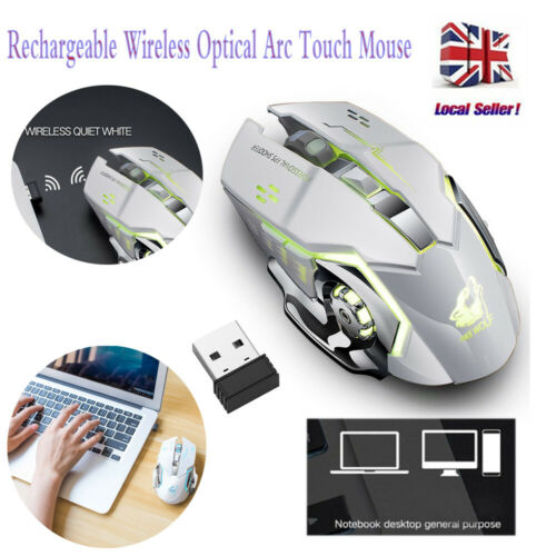 Rechargeable USB Wireless LED Backlit Optical Gaming Mouse Arc Touch Mice For PC