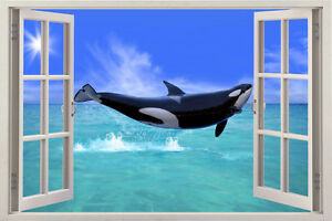 killer whale 3D Window View sea Mural Wall Sticker Vinyl Decal Kids Home Decor