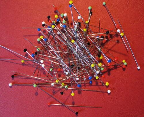 confección Asst 48mm X 0.50mm100cnt de largo y Pin de cabeza de vidrio fino costureras