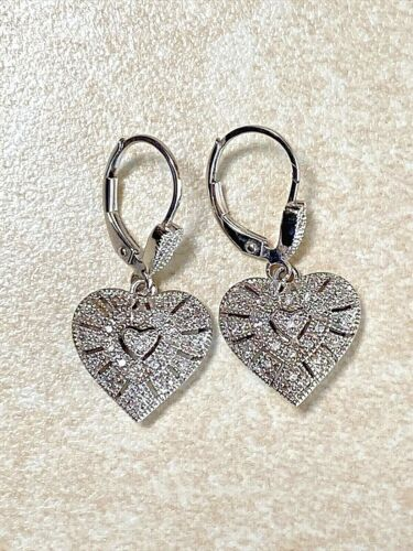 Retro 925 Sterling Silver Dangling Heart Charm Bracelet Item K # 1870