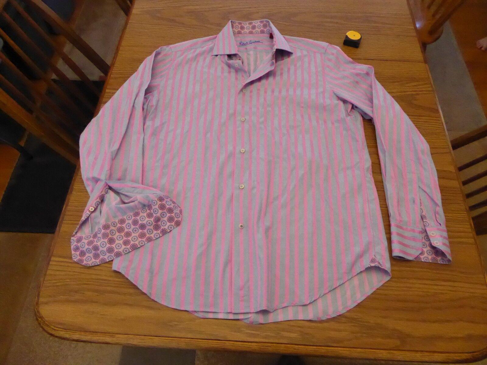 Robert Graham Shirt 40 16 M L Pink bluee Cuff Cotton Very Good Pre Owned Cond