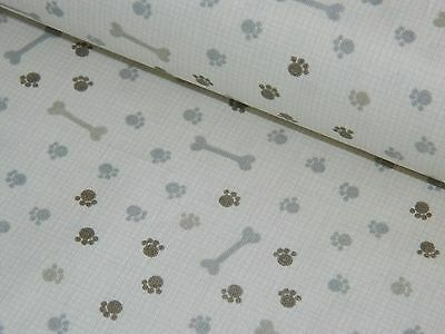 Baumwollstoff Baumwolle Stoff Meterware Hunde Knochen Tatzen grau beige 50/160