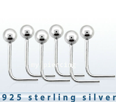 1mm 1 5mm 2mm Ball 22g L Shaped 925 Sterling Silver Ball Nose