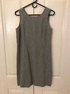 34d878287a Image is loading Sleeveless-Gray-Linen-Blend-Shift-Dress-SIGRID-OLSEN-