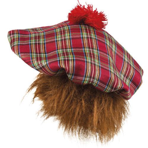 Chapeau ecosse deguisement tartan beret avec les cheveux homme ecossais calot