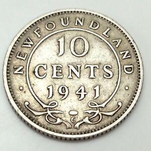 1941-C-Newfoundland-Canada-10-Ten-Cents-Dime-Canadian-Circulated-D572