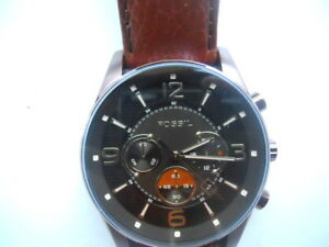 e76258327b5 Image is loading Fossil-men-039-s-chronograph-brown-leather-band-