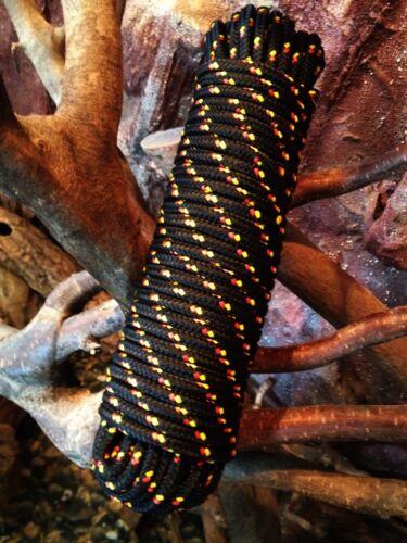 30 m,Reparaturseil Nr.37 Flechtleine 8 mm Kordel,Spannseil,Rope,Schwarz Schot