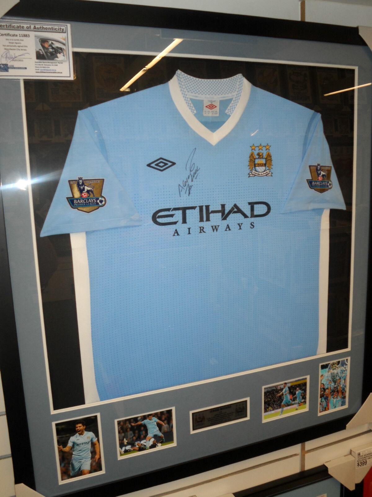 Sergio Agüero Firmado Manchester City Jersey Enmarcado + Foto prueba & C.o.a