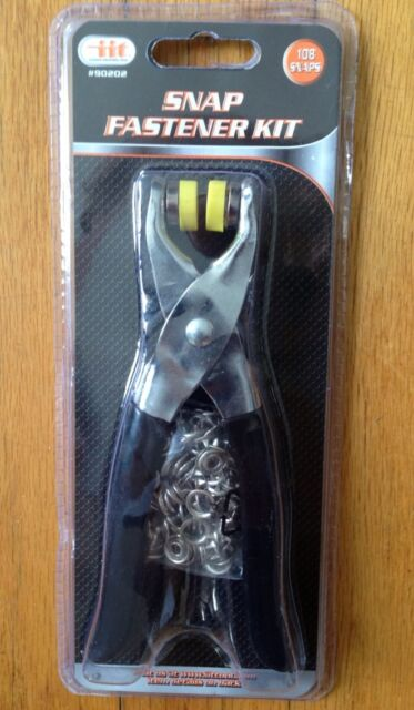 "Snap Fastener Pliers Tool 108 Pieces 27 Complete Snap Buttons 3/8"" NEW NIB Kit"
