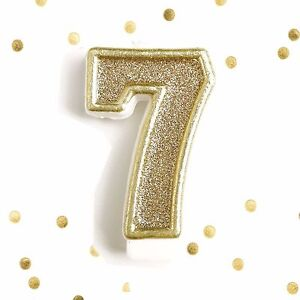 Image Is Loading Light Gold Glitter Birthday Candle Number 7