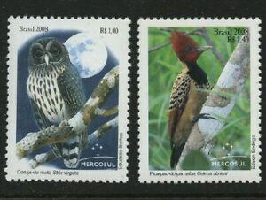 Birds-set-of-2-mnh-stamps-2008-Brazil-3060-3060A-Strix-Virgata-Celeus-Obrieni