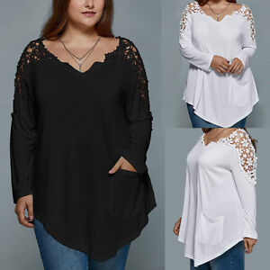 Plus-Size-Summer-Women-Lace-Casual-Blouse-Long-Sleeve-Loose-Shirt-Tops-Oversize