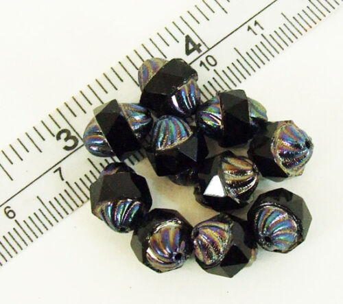 Lot 10 9mm AB Bicone Rainbow Swirl Faceted Middle Band Center Drilled Glass Bead