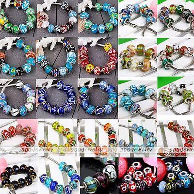 10x Mixed Handmade Lampwork Murano Glass European Charm Beads Fit Snake Bracelet