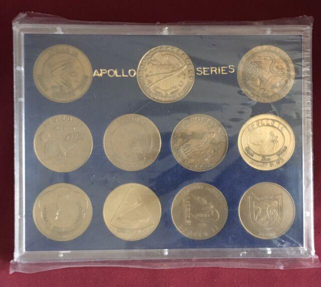 11 SEALED ANTIQUE BRONZE COIN SET NASA APOLLO MANNED SPACE FLIGHT SERIES