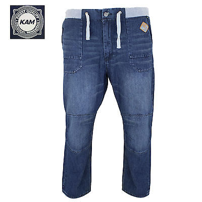 Mens KAM Big Plus Size Ribbed Elasticated Drawstring Waist Relax Fit Jeans 46 48