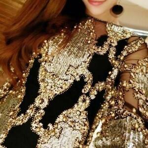 Womens-Gold-Blouse-Mesh-Bling-Bling-Transparent-Bead-Shirt-Sequined-Tops-USL