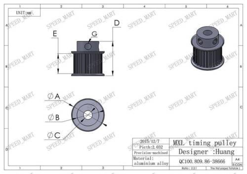 MXL24 Aluminum Timing Belt Pulley 24 Teeth 8mm Bore 7mm width Stepper Motor