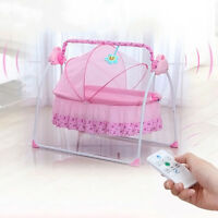 Electric Baby Crib Cradle Infant Rocker Auto-Swing Bed Baby Big Space Cradle