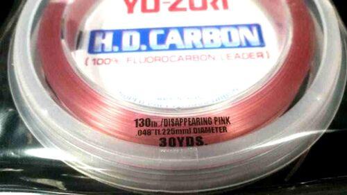 Yo-Zuri HD Carbon Fluorocarbon Leader line 130 lb 30 yds disappearing pink spool