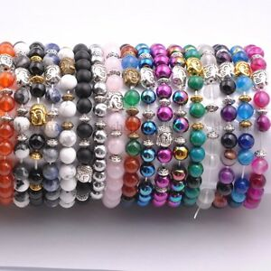 Natural-Gemstone-Round-Beads-Buddha-Head-Stretchy-Bracelets-8MM-Assorted-Stones