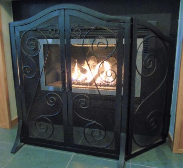 Fireplace Screen Doors Black Wrought Iron Tri Fold Firescreen Guard