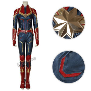 Captain Marvel Cosplay Carol Danvers Costume Jumpsuit Leather Outfit Custom Made Ebay But even back then, her signature sash was part of her look! ebay