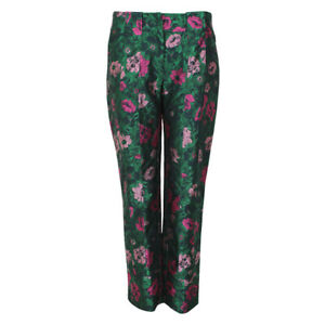 Erdem-Emerald-Green-Pink-Floral-Jacquard-Tapered-Leg-Trousers-UK10-IT42
