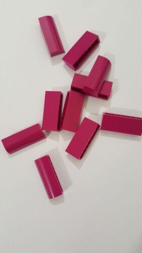 ,10 parts Lego magenta brick modified 1x4x1 1//3 no studs 6191 curved top