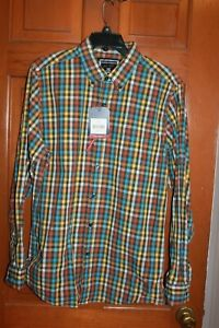 Mens-Saddlebred-Wrinkle-Free-Long-Sleeve-Tailored-Fit-Button-Down-Shirt-Plaid-M