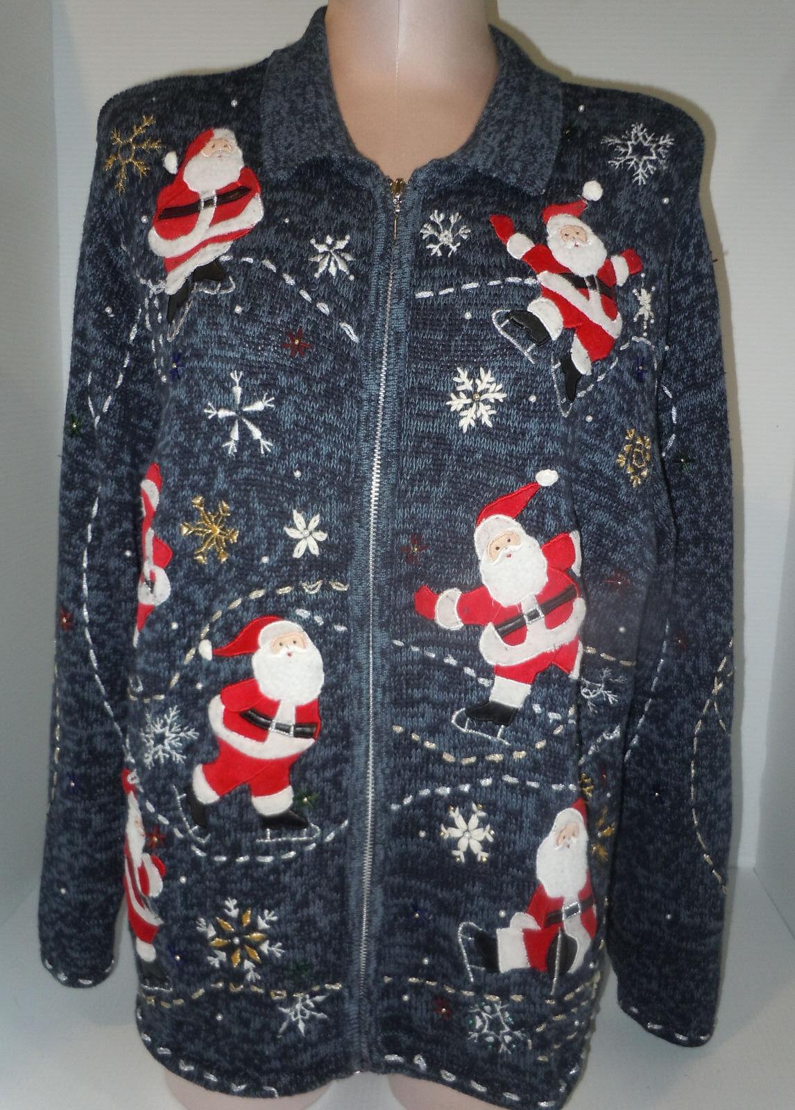HEMPSHIRE STUDIO Womens Christmas Ugly Sweater bluee Red White Santa Sz 1X Plus