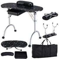 Black Design Manicure Nail Table Station Spa Beauty Salon Equipment Portable
