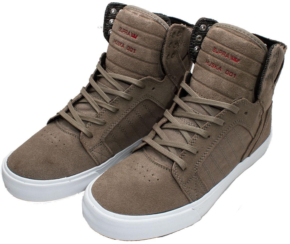 SUPRA 08175-224-M SKYTOP Mn's (M) Khaki/White Pelle/Suede Hi Top Skate
