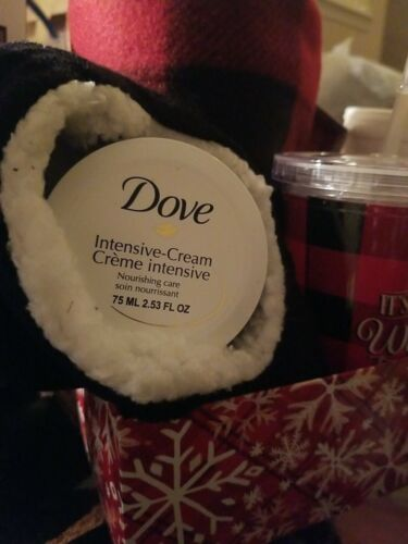 Christmas Red Cozy Blanket //Slip on  Slip Cup// Dove Cream Gift Basket Box