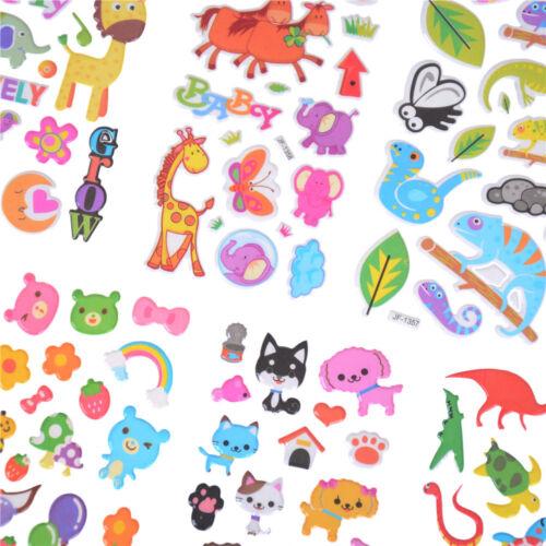 6 Hojas Lindos Dibujos animados Animales Scrapbooking Burbuja Puffy Pegatinas recompensa niños Fo