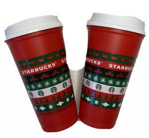 Lot Of 2 Starbucks 2020 Reusable Cup Grande 16oz Red HOLIDAY Xmas Christmas