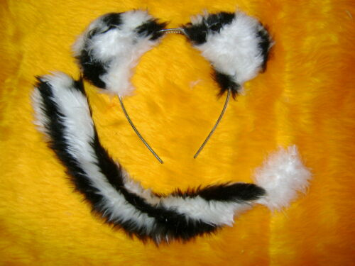 Zoo Animal Fancy Dress Ears /& Tail White Tiger Cub Ears And Tail Faux Fur