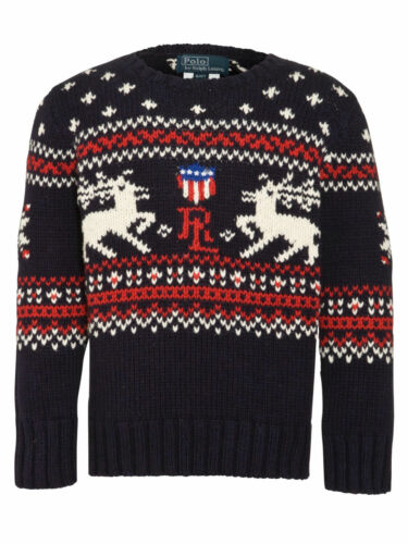 115 Boys Ralph Lauren Reindeer hiver chaud Knit Navy Blue Christmas Jumper 6 7 afficher le titre d'origine
