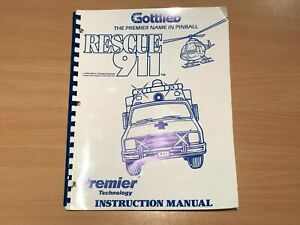 Gottlieb Rescue 911 Pinball Machine Operations Manual - Rare