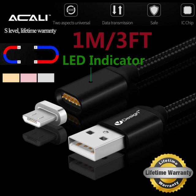 ACALI Magnetic Câble LED Micro USB Chargeur pour Samsung Galaxy S6 / S7 / Edge