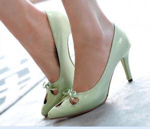 Zapatos de salón mujer tacón aguja 8 cm disp4 colores código 8407 eff charol