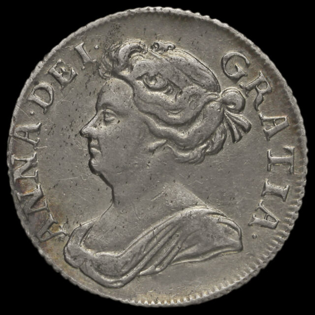 1709 Queen Anne Early Milled Silver Shilling, Third Bust, Plain Angles, VF